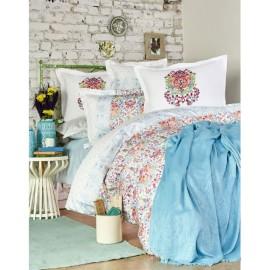 Набор постельное белье с пледом Diandra turkuaz 2018-2 бирюзовый Karaca Home