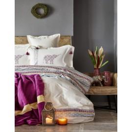 Набор постельное белье с пледом Espilo bordo 2018-1 бордовый Karaca Home