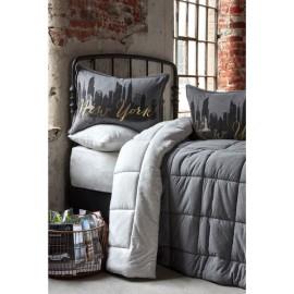 Набор постельное белье с одеялом New York gri 2019-2 серый Karaca Home