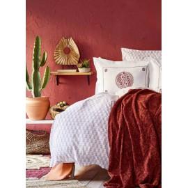 Набор постельное белье с пледом Alley kiremit 2020-1 кирпичный Karaca Home