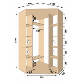 Угловой шкаф-купе (1100 х 450 х 2200 х 1100) Алекса