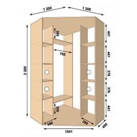 Угловой шкаф-купе (1200 х 450 х 2200 х 1200) Алекса