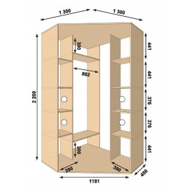 Угловой шкаф-купе (1300 х 450 х 2200 х 1300) Алекса
