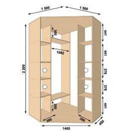 Угловой шкаф-купе (1500 х 450 х 2200 х 1500) Алекса