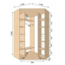 Угловой шкаф-купе (1100 х 450 х 2400 х 1100) Алекса