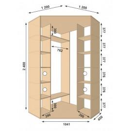 Угловой шкаф-купе (1200 х 450 х 2400 х 1200) Алекса