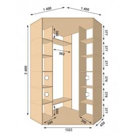 Угловой шкаф-купе (1300 х 450 х 2400 х 1300) Алекса