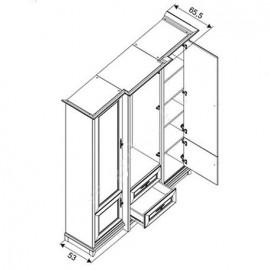 Шкаф платяной 3D2S Соната (Каштан) Гербор