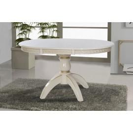 Обеденный раскладной стол Престиж (бук) слоновая кость + патина Микс Мебель